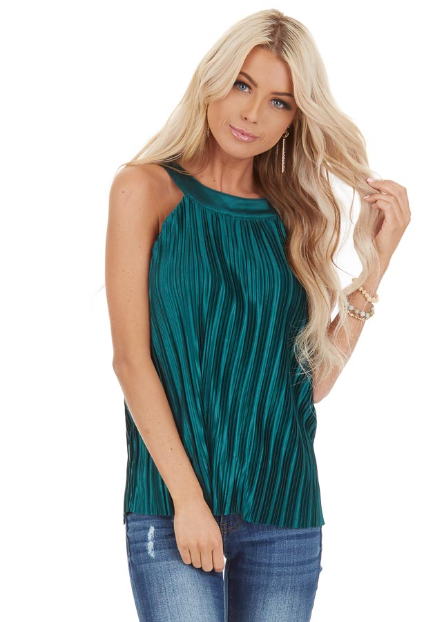 Jungle Green Silky Pleated Sleeveless Top with Keyhole Back front close up