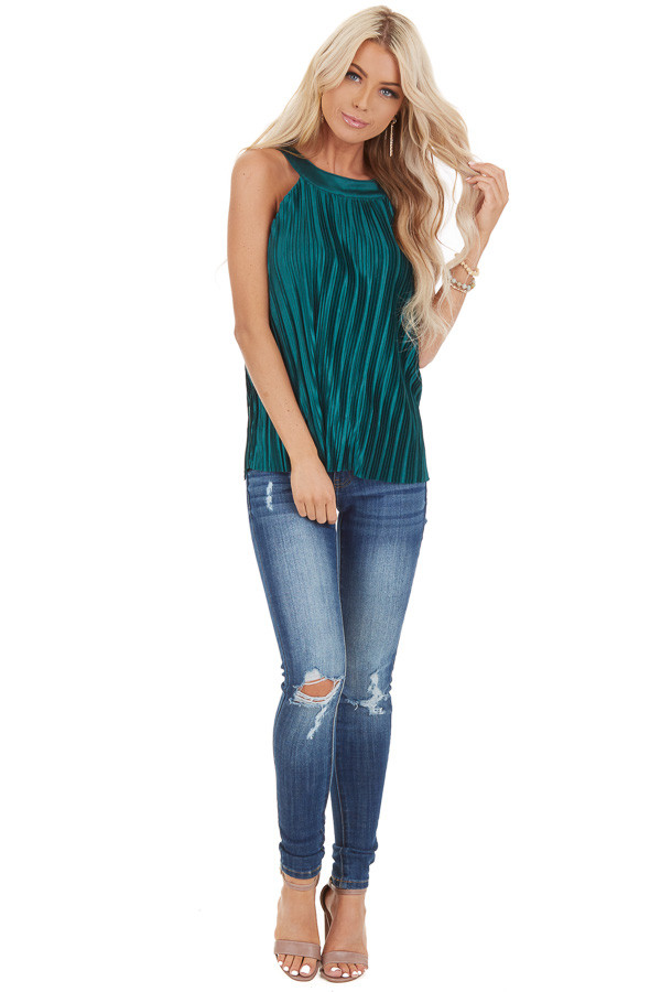 Jungle Green Silky Pleated Sleeveless Top with Keyhole Back front full body