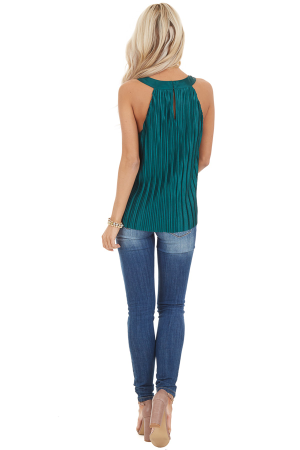 Jungle Green Silky Pleated Sleeveless Top with Keyhole Back back full body
