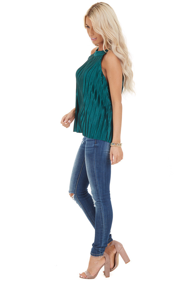 Jungle Green Silky Pleated Sleeveless Top with Keyhole Back side full body