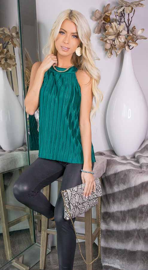Jungle Green Silky Pleated Sleeveless Top with Keyhole Back