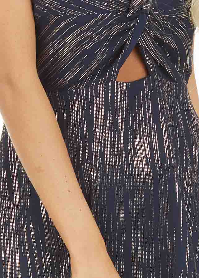 Navy Spaghetti Strap Mini Dress with Gold Print and Cutout detail