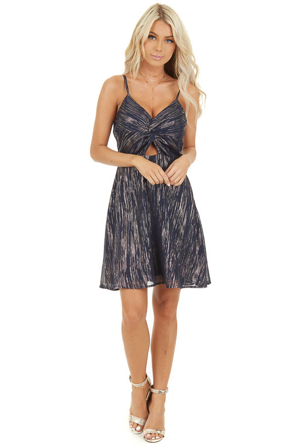 Navy Spaghetti Strap Mini Dress with Gold Print and Cutout front full body