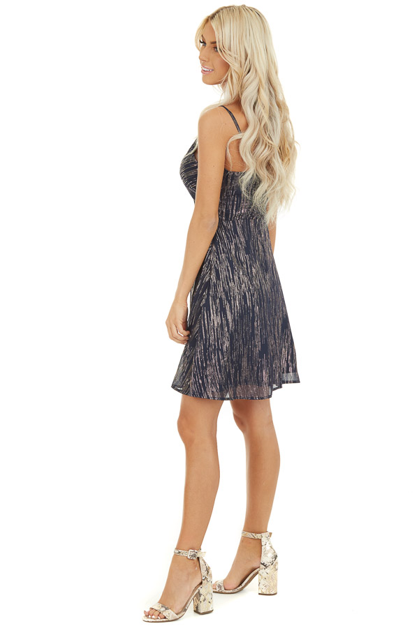 Navy Spaghetti Strap Mini Dress with Gold Print and Cutout side full body