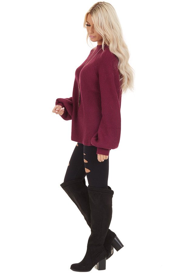Wine Knit Sweater Top with Long Balloon Sleeves side full body