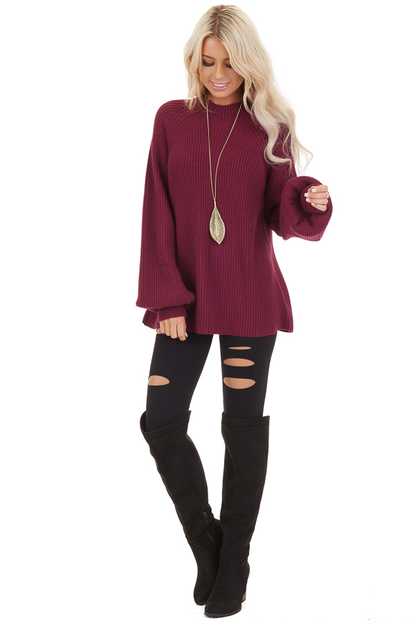 Wine Knit Sweater Top with Long Balloon Sleeves front full body