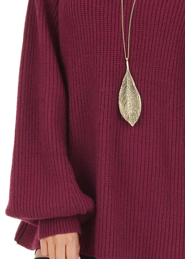 Wine Knit Sweater Top with Long Balloon Sleeves detail