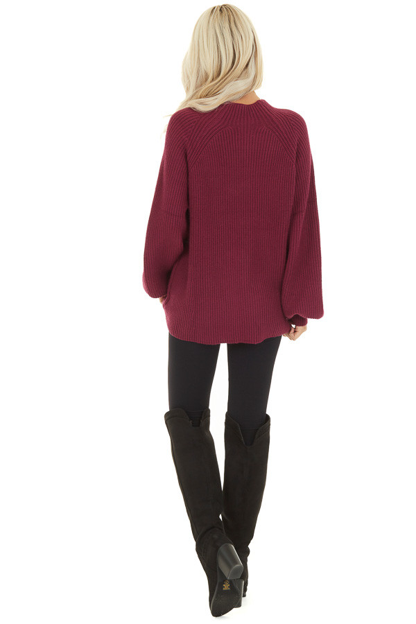 Wine Knit Sweater Top with Long Balloon Sleeves back full body
