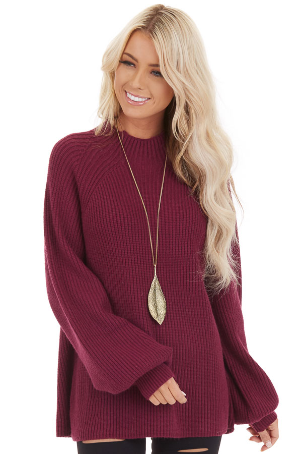 Wine Knit Sweater Top with Long Balloon Sleeves front close up