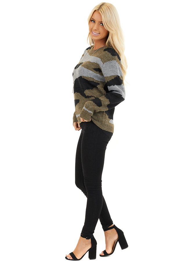 Dusty Olive Camo Knit Sweater Top with Long Sleeves side full body