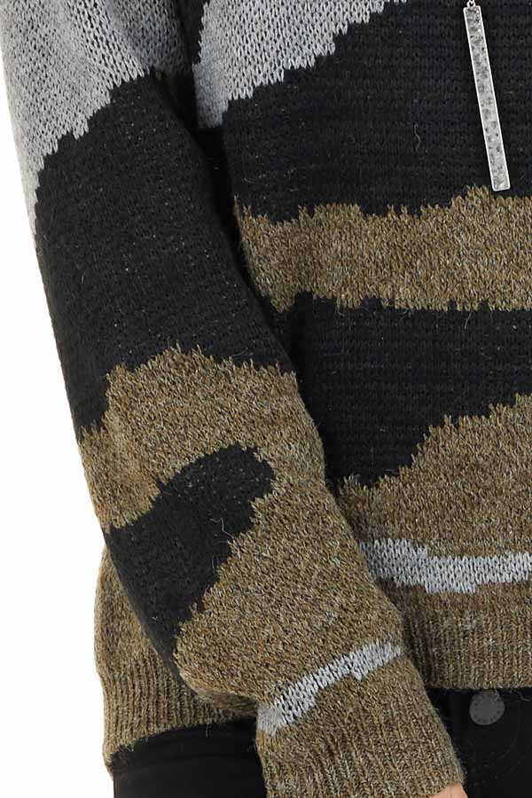 Dusty Olive Camo Knit Sweater Top with Long Sleeves detail
