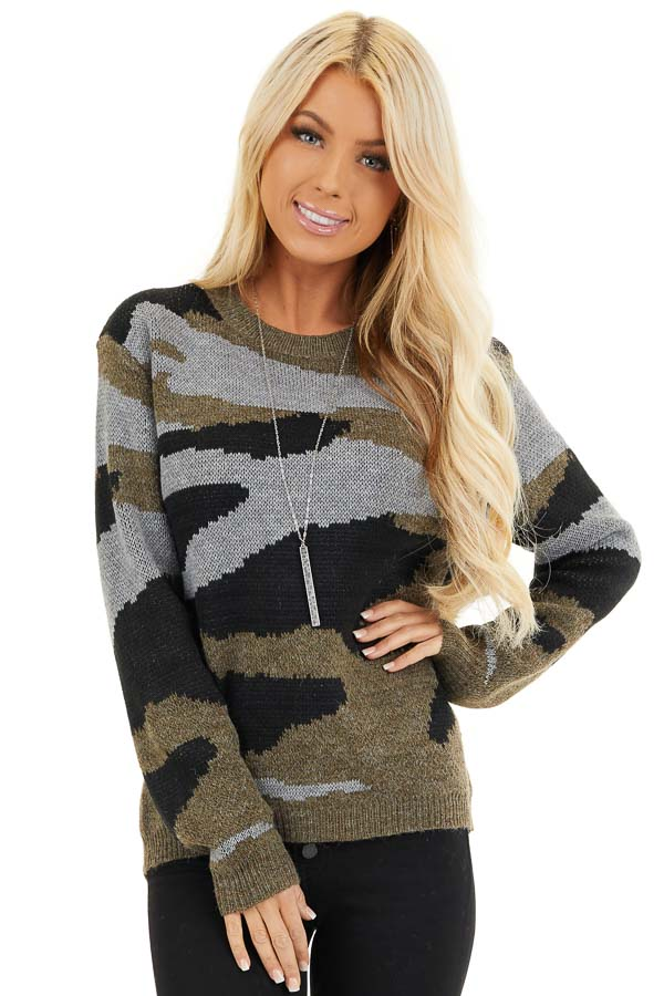 Dusty Olive Camo Knit Sweater Top with Long Sleeves front close up