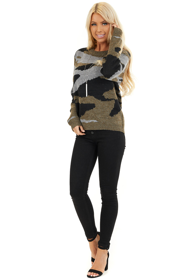 Dusty Olive Camo Knit Sweater Top with Long Sleeves front full body