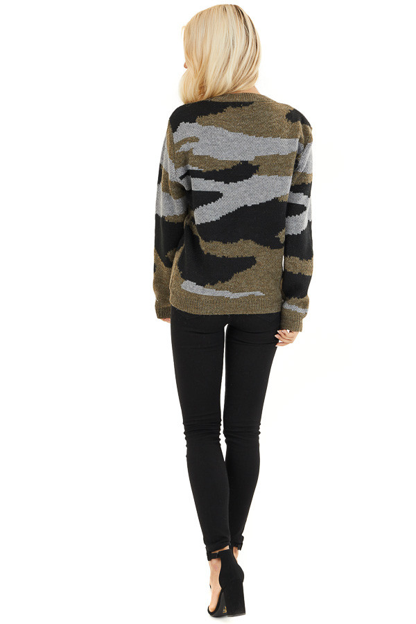 Dusty Olive Camo Knit Sweater Top with Long Sleeves back full body