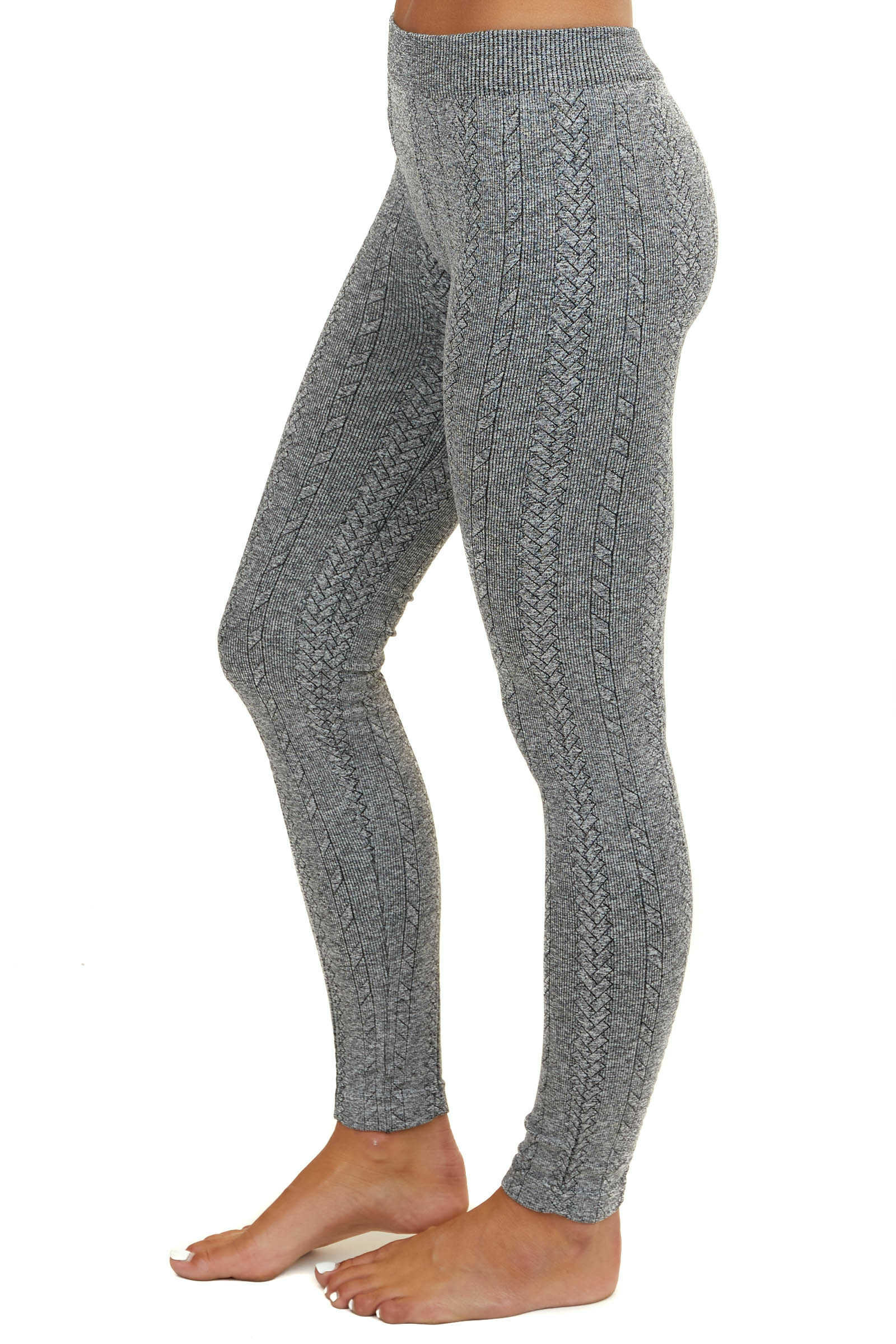 Heathered Charcoal Braided Knit Comfy Leggings