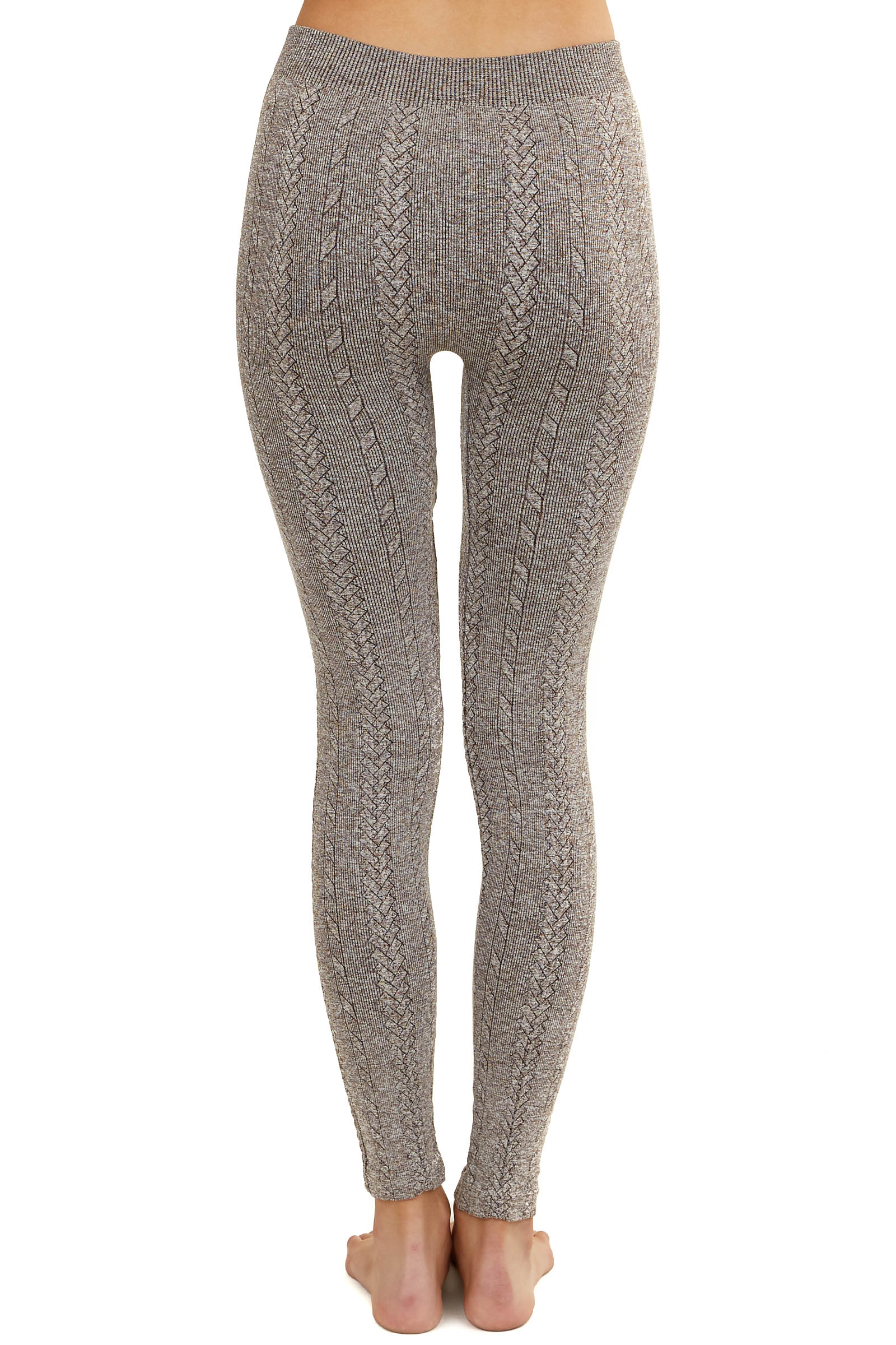 Heathered Brown Braided Knit Comfy Leggings