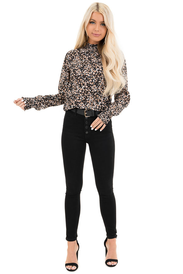 Black Long Sleeve Floral Print Sheer Top with Mock Neckline front full body