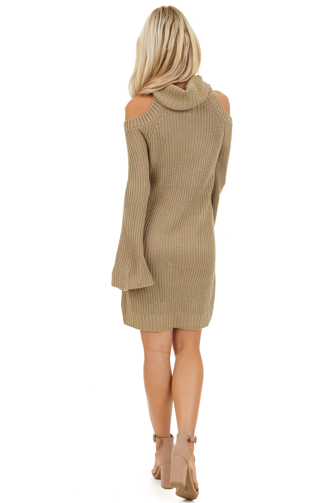 Khaki Sweater Dress with Cowl Neckline and Shoulder Cutouts back full body