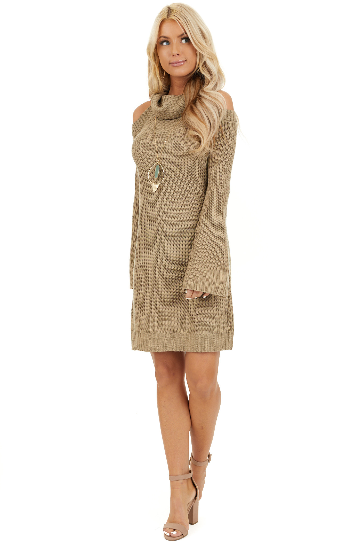 Khaki Sweater Dress with Cowl Neckline and Shoulder Cutouts front full body