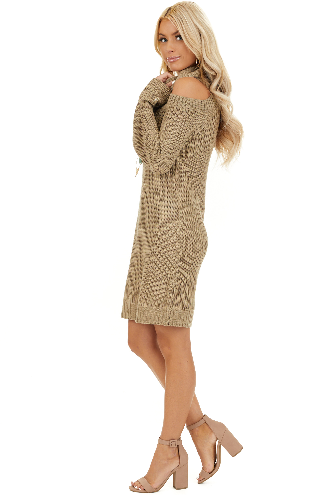 Khaki Sweater Dress with Cowl Neckline and Shoulder Cutouts side full body