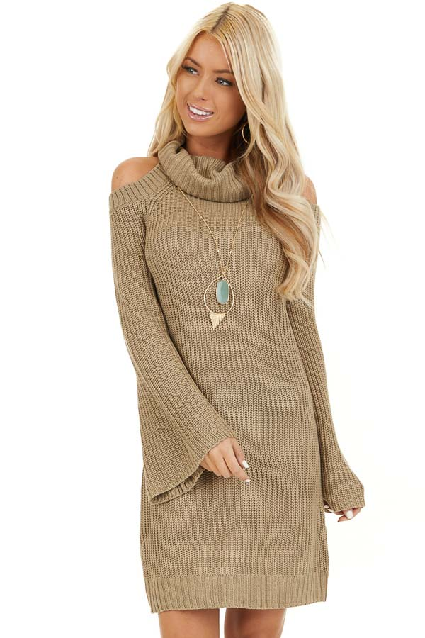 Khaki Sweater Dress with Cowl Neckline and Shoulder Cutouts