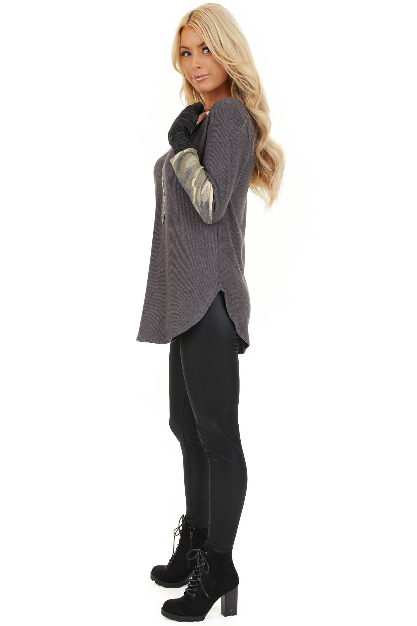 Charcoal Ribbed Long Sleeve Top with Camo Print Details side full body