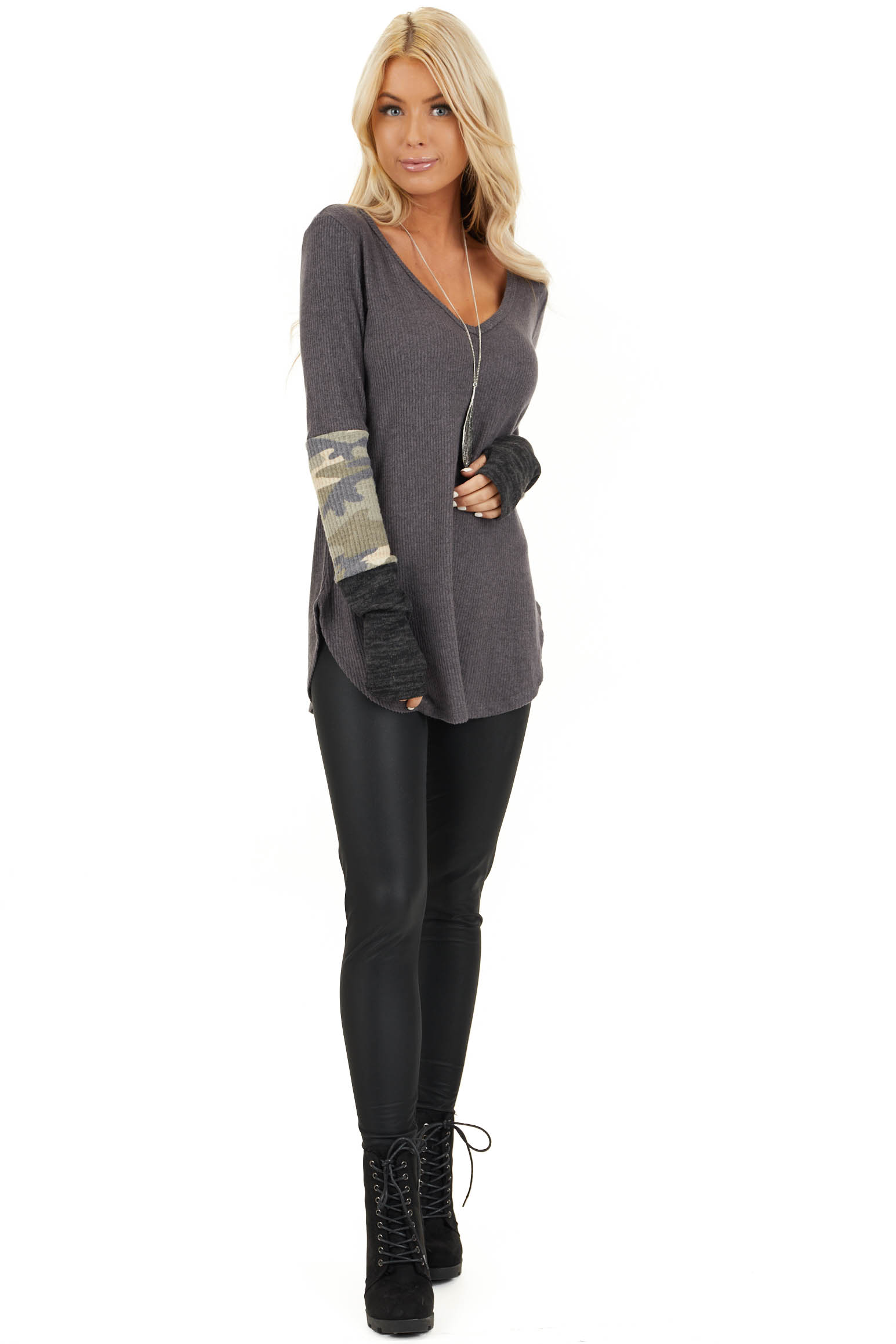 Charcoal Ribbed Long Sleeve Top with Camo Print Details front full body