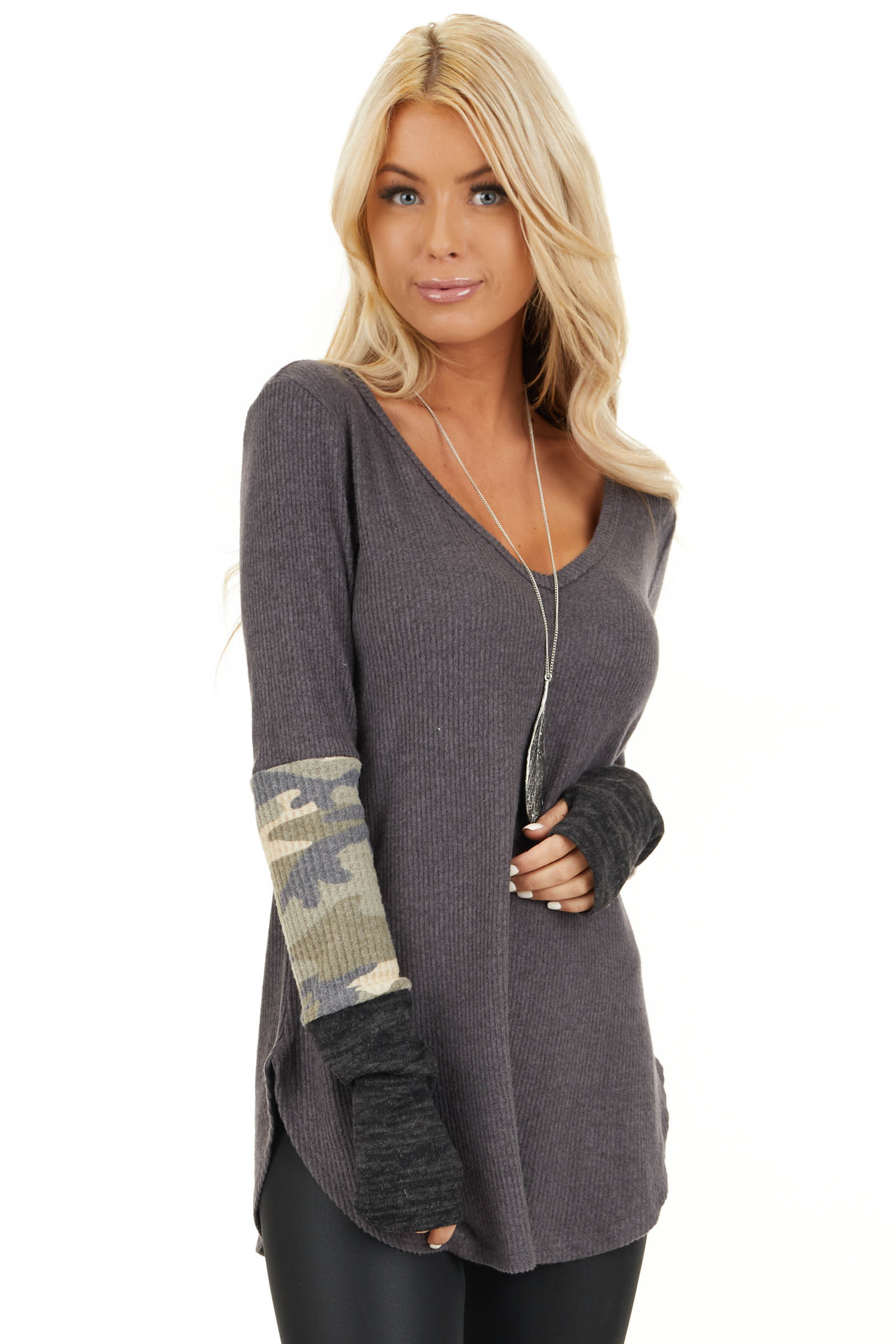 Charcoal Ribbed Long Sleeve Top with Camo Print Details front close up