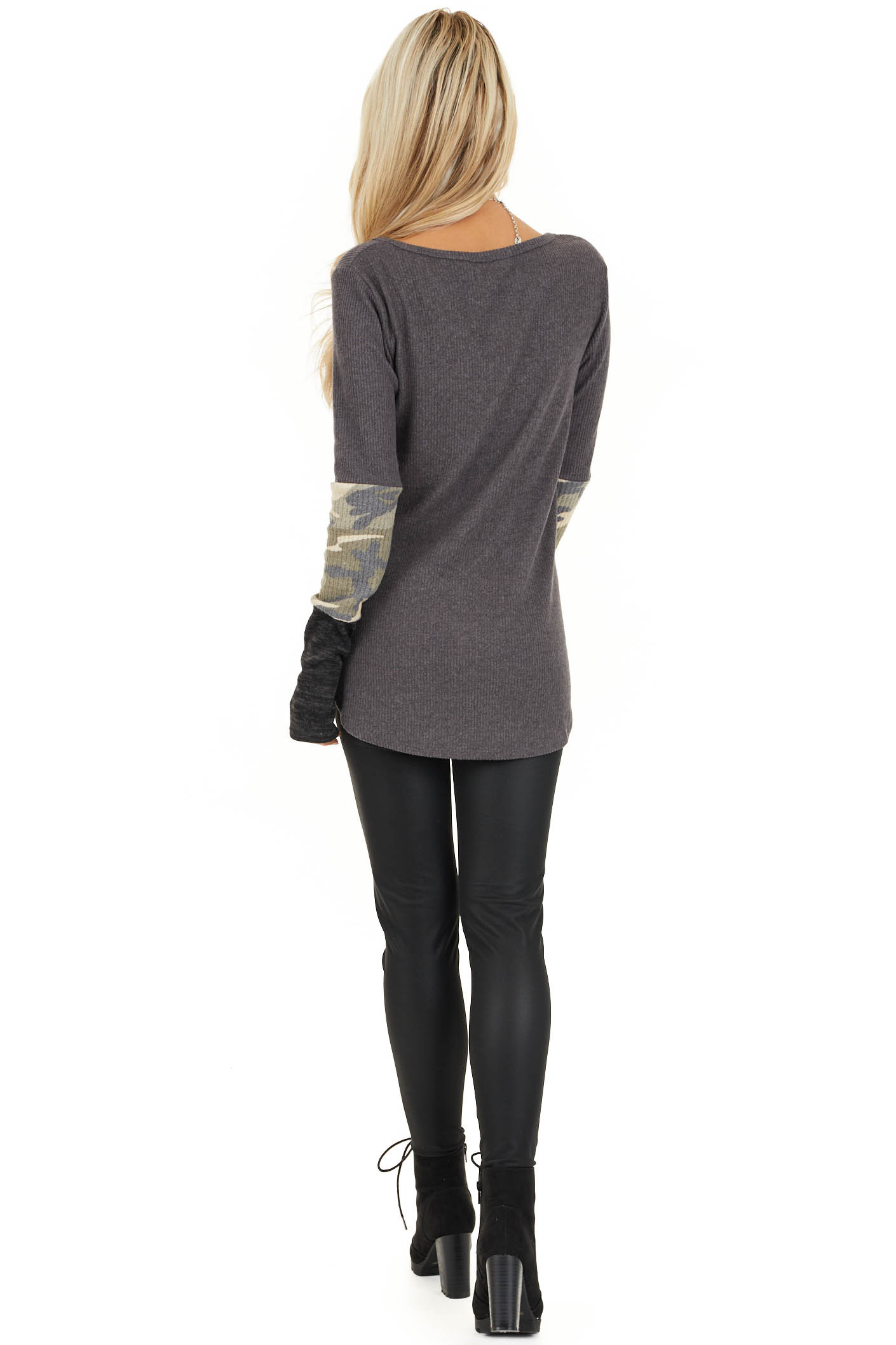 Charcoal Ribbed Long Sleeve Top with Camo Print Details back full body