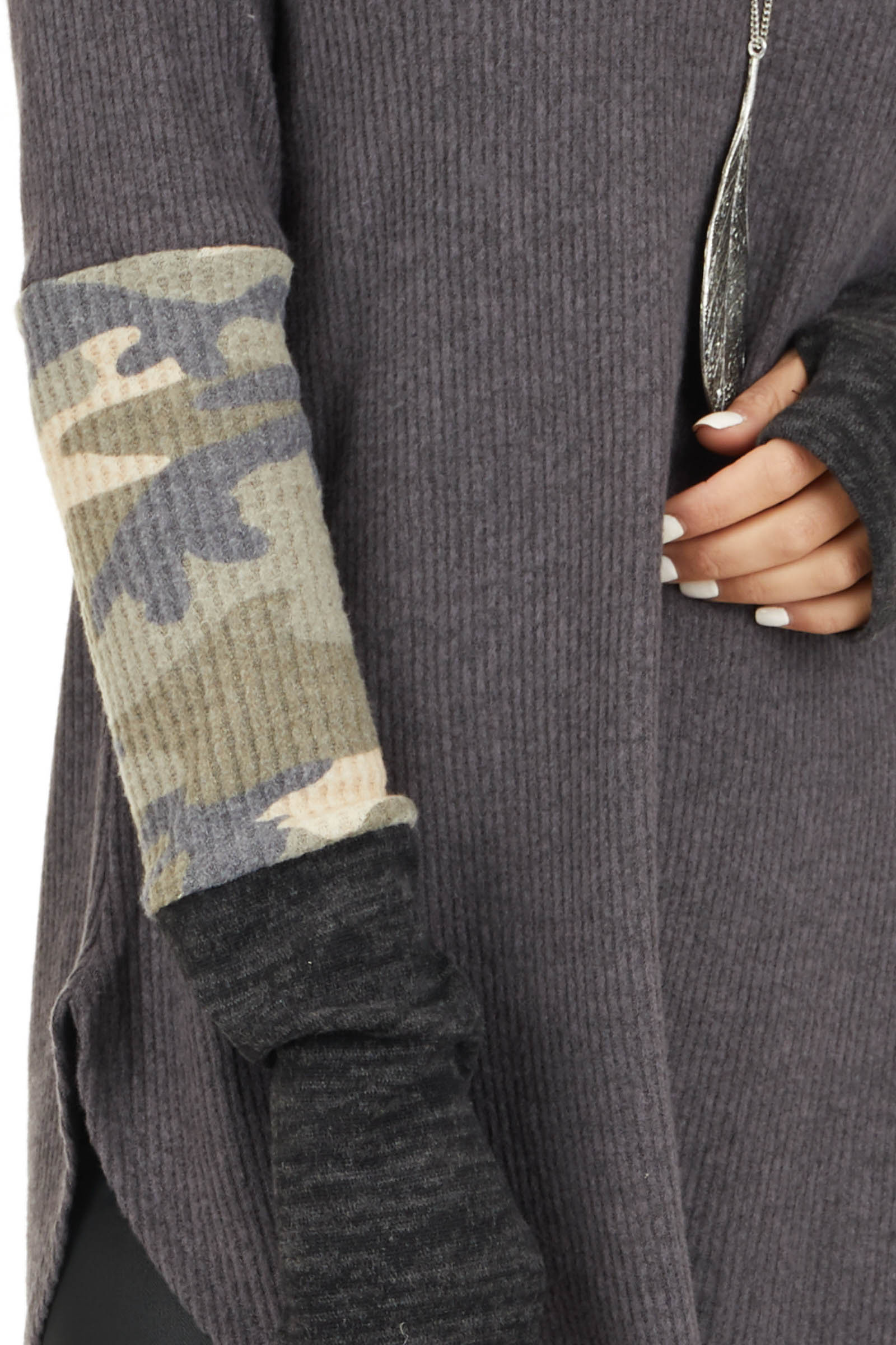 Charcoal Ribbed Long Sleeve Top with Camo Print Details detail