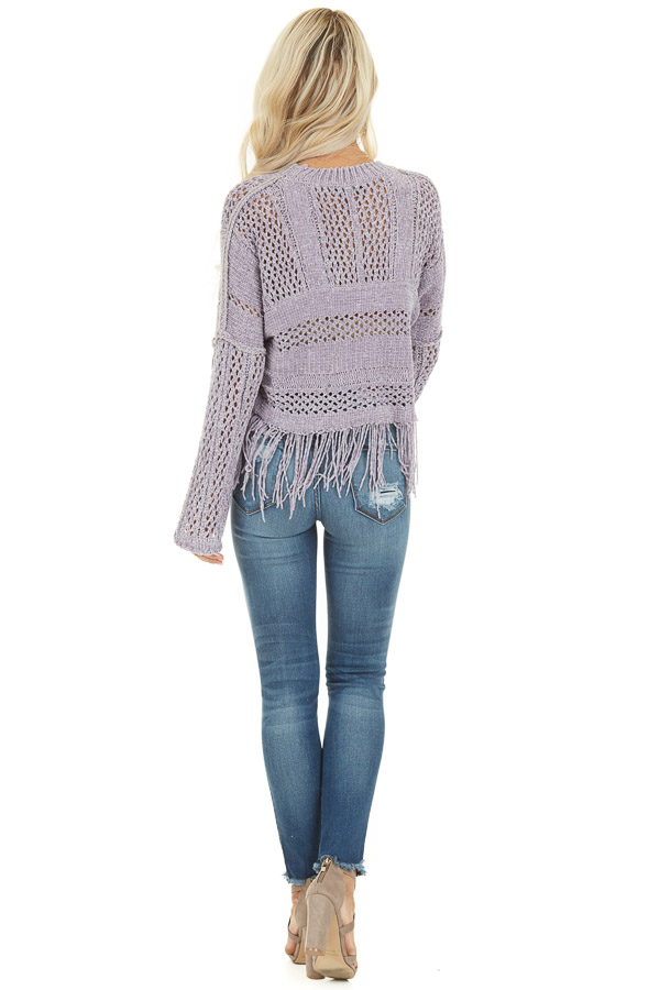 Pale Purple Super Soft Knit Sweater with Fringe Details back full body