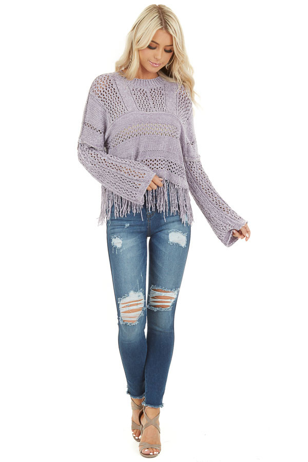 Pale Purple Super Soft Knit Sweater with Fringe Details front full body