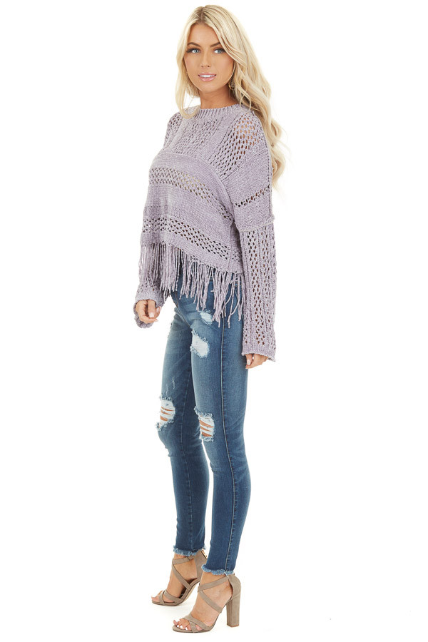 Pale Purple Super Soft Knit Sweater with Fringe Details side full body