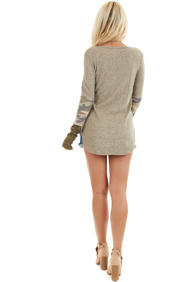 Taupe Ribbed Long Sleeve Top with Camo Print Details back full body