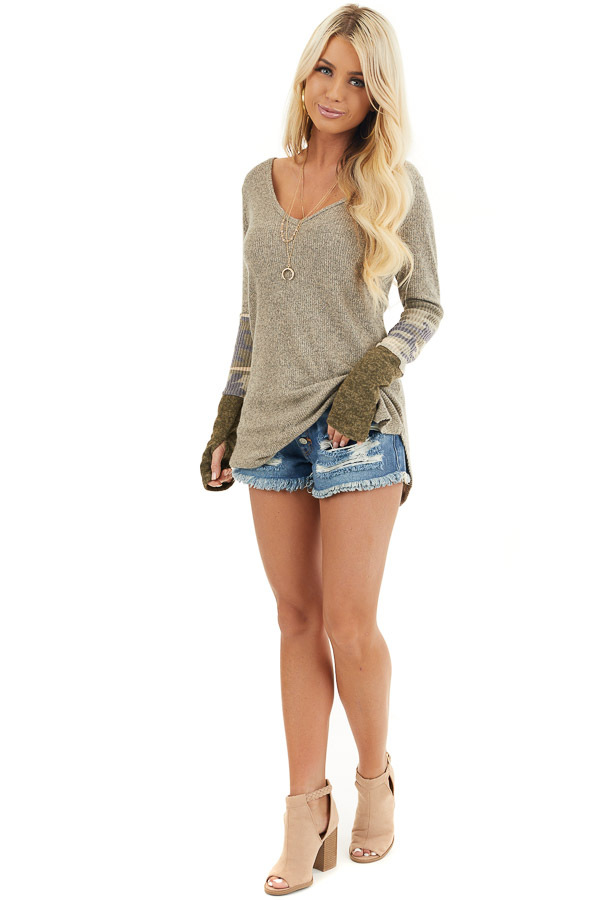 Taupe Ribbed Long Sleeve Top with Camo Print Details front full body
