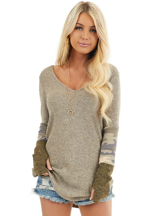 Taupe Ribbed Long Sleeve Top with Camo Print Details front close up
