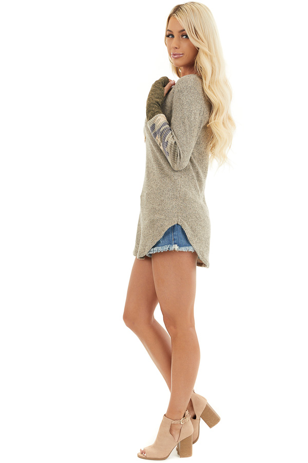 Taupe Ribbed Long Sleeve Top with Camo Print Details side full body