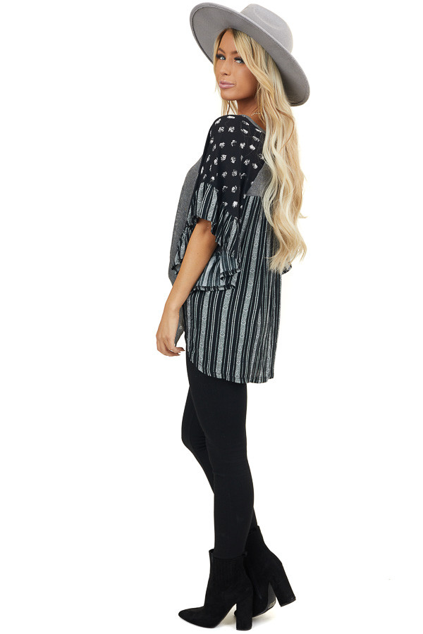 Charcoal V Neck Top with Contrasting Short Ruffled Sleeves