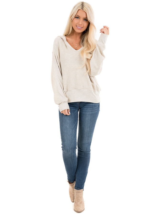 Oatmeal Long Sleeve Hooded Top with Kangaroo Pocket front full body