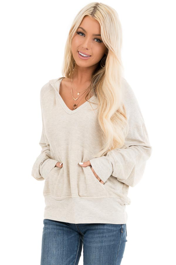 Oatmeal Long Sleeve Hooded Top with Kangaroo Pocket front close up