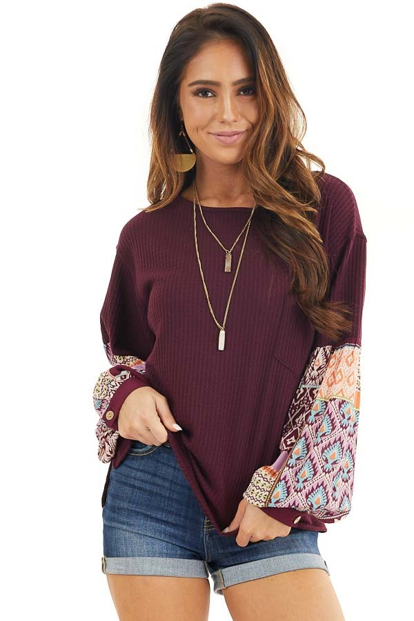 Deep Burgundy Waffle Knit Top with Contrasting Long Sleeves front close up