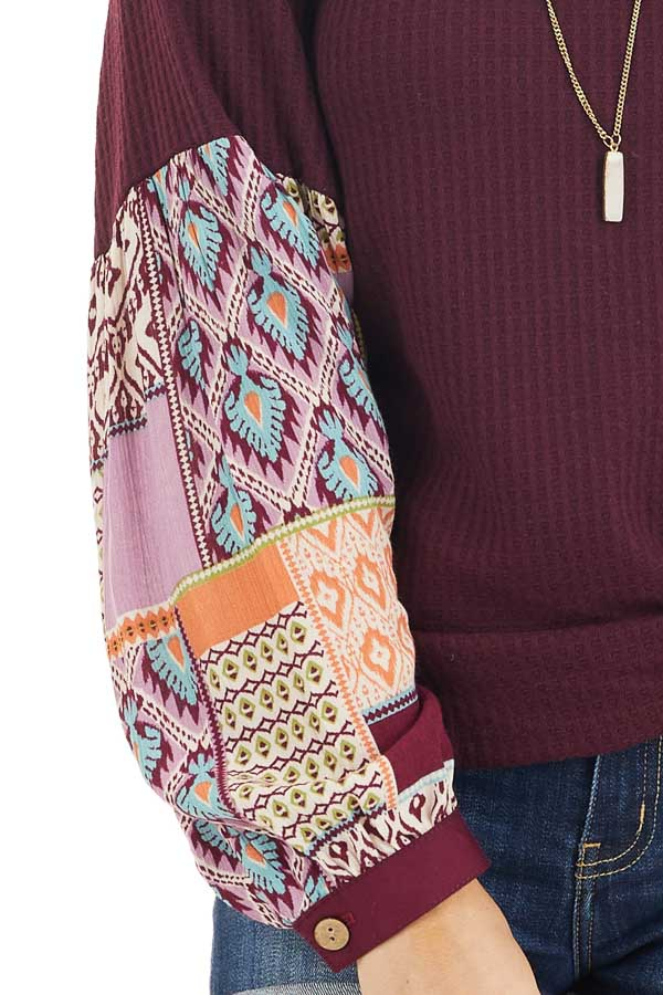 Deep Burgundy Waffle Knit Top with Contrasting Long Sleeves detail