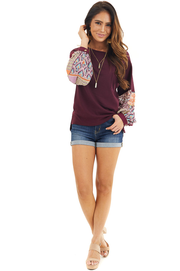 Deep Burgundy Waffle Knit Top with Contrasting Long Sleeves front full body