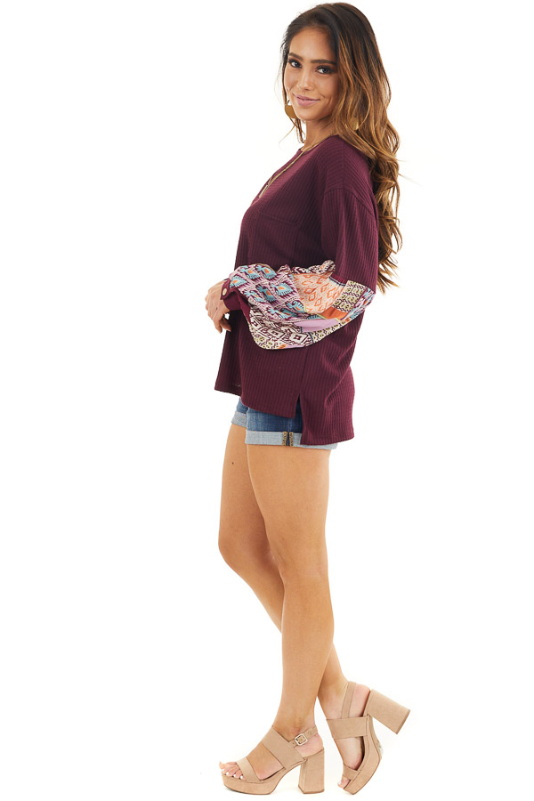 Deep Burgundy Waffle Knit Top with Contrasting Long Sleeves side full body