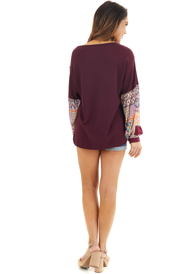 Deep Burgundy Waffle Knit Top with Contrasting Long Sleeves back full body