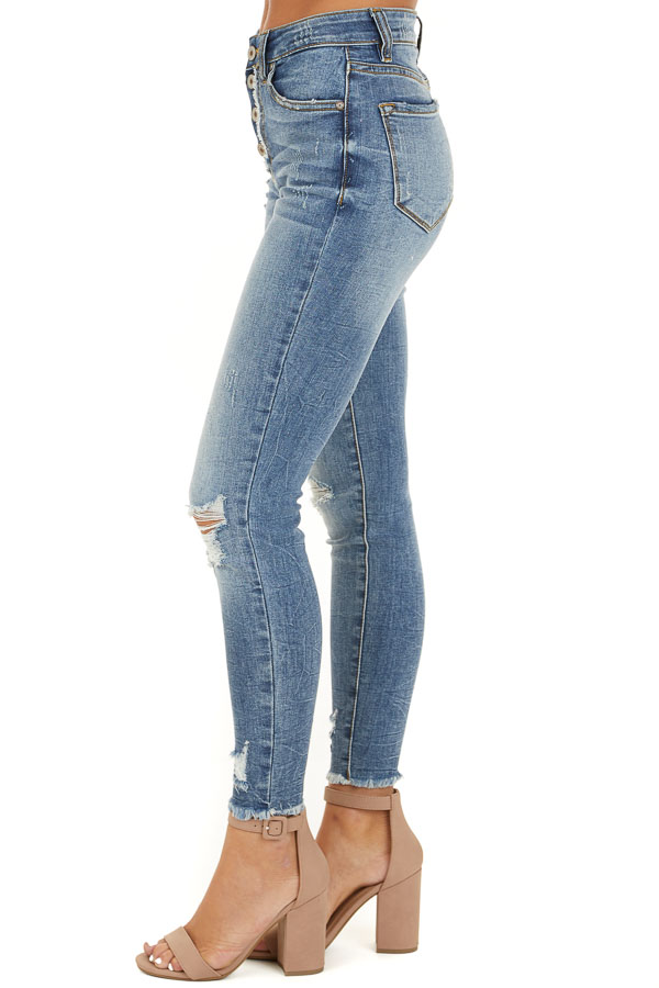 Medium Wash Distressed Button Up Skinny Jeans side view