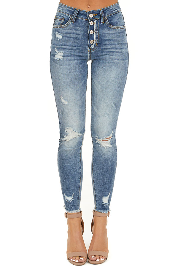 Medium Wash Distressed Button Up Skinny Jeans front view