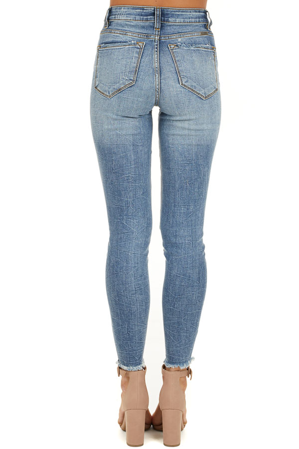 Medium Wash Distressed Button Up Skinny Jeans back view