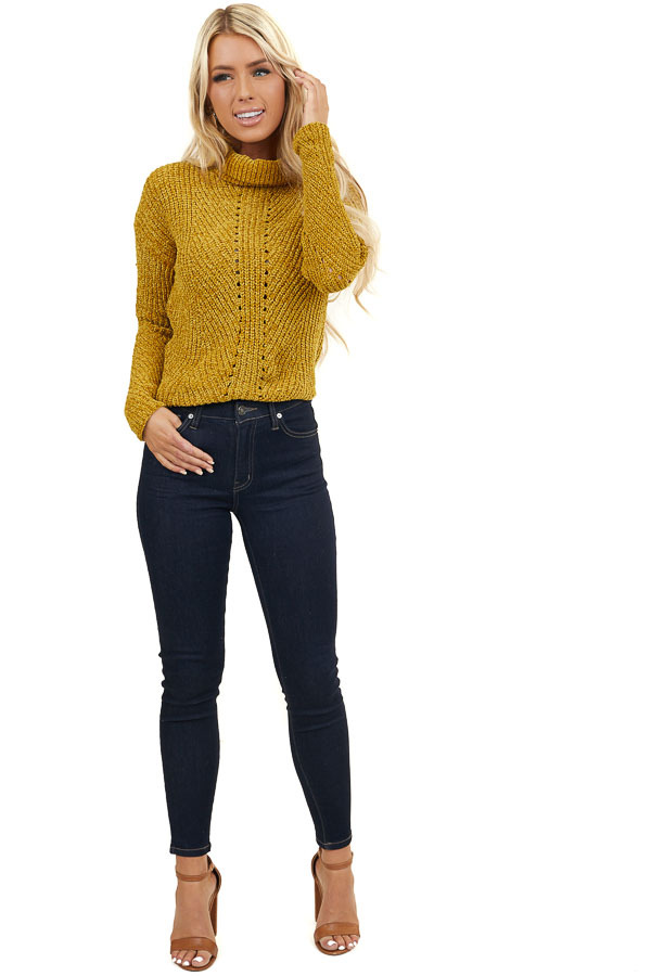 Golden Long Sleeve Turtleneck Chenille Knit Sweater