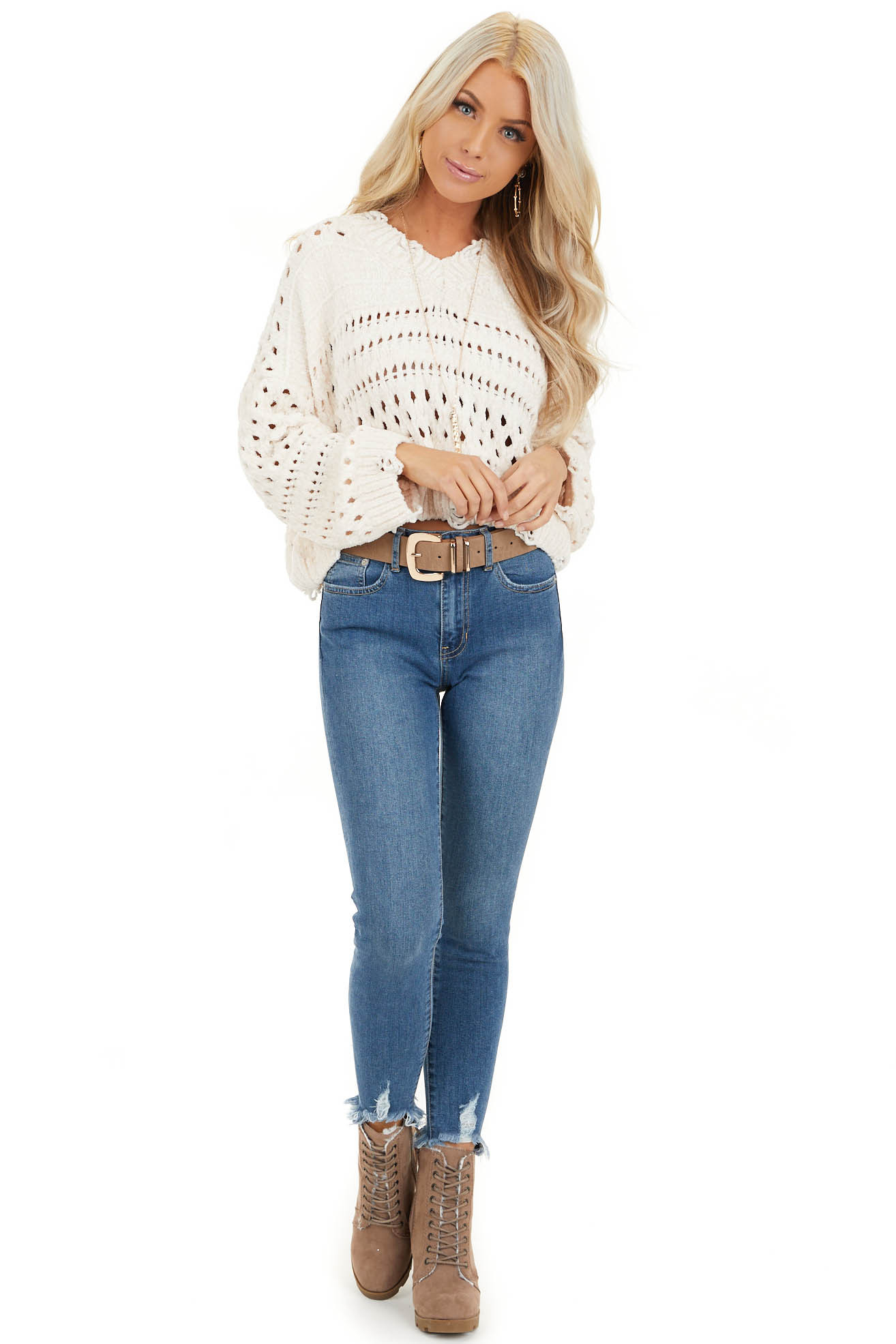 Ivory Super Soft Long Sleeve Chenille Cropped Sweater front full body